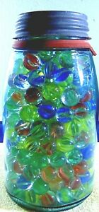 Vintage Vitro Agate Marbles In Glass Mason Jar Cat Eyes 4-9 Vain Caged 1-3 Color
