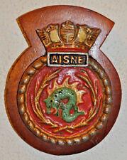 HMS Aisne cast metal and wood ship's crest plaque Royal Navy naval destroyer