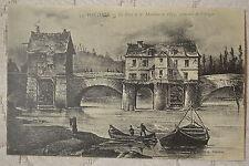 """CPA """" PONTOISE - Le Pont et les Moulins en 1833, gravure de l'époque"""