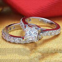 Women's Engagement Wedding Ring Set 1.50 Ct Princess Diamond Real 10k White Gold