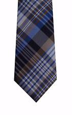 Countess Mara tie silk men necktie blue brown Big Silver Plaid classic new nwt