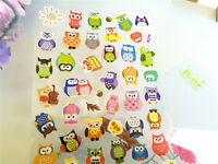 Cute Owl sticker  Diary Deco Art Kids Party Colourful Gold Effect Kawaii