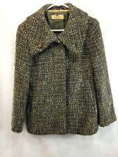 Henry White Coat Jacket Blazer Womens 8 Green Gray Blue Wool Blend Ireland
