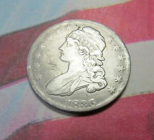 1836 CAPPED BUST HALF DOLLAR ~ NICE DETAILS BUT SCRATCHED~ COMB SHIP ~ LOT A196