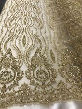 GOLD HAND BEADED LACE FABRIC EMBROIDER WITH METALLIC TREAD ON A MESH-BY THE YARD