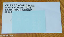 Tichy Train Group #9034 CP SS Boxcar Decal White for: Kit #4034