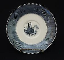 Decorative USA Blue & White China Saucer Plate w/ Steamship Picture on Front EUC