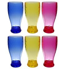 QG 21 oz Colorful Beehive Acrylic Drinking Glass Ice Tea Cup Plastic Tumbler 6pc