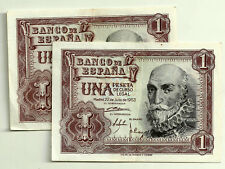 BILLETE DE 1 PESETA DE 1953 (EBC) MARQUÉS DE SANTA CRUZ (SERIE W) PAREJA CORRELA