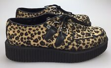 Leopard Print Fuzzy Punk Rock TUK Creepers Women's 9 (Mens 7) Lace Up Platform