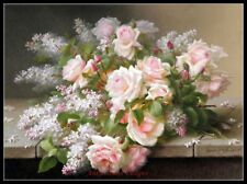 Lilacs and Roses II - Chart Counted Cross Stitch Patterns Needlework DMC color