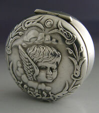 PRETTY STERLING SILVER CHERUB SNUFF / PILL BOX 1906 ANTIQUE