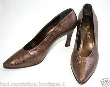 Vintage Petra Bronze Metallic Pumps Heels w/Box - Size 7 Snake Lizard Brown