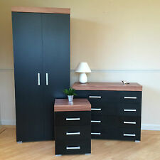 Black Walnut Bedroom Furniture- Wardrobe, 4+4 Drawer Chest, 3 Draw Bedside Table