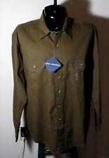 Men's JOHN ASHFORD Brown Long Sleeve Khaki Shirt Size XXL NWT