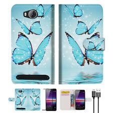 Cyan Butterfly Wallet TPU Case Cover For HUAWEI Y3 II 2 -- A019