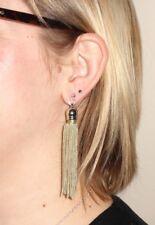 Long Slinky Beige/Natural Tassle/Tassel Drop EARRINGS for Pierced Ears