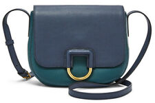 NWB Fossil Stella Crossbody Teal / Dark Navy Leather $158 SHB1960403 Dust Bag