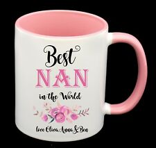 BEST NAN personalised with names Coffee Cup Mug Birthday Gift Mothers Day