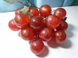 """Vintage (MCM) Reddish Lucite Acrylic Grape Cluster (18/1-1/2""""Grapes) Pre-owned"""