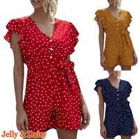 Women Polka Dot Print Jumpsuit Casaul Spotted VNeck Button Short Playsuit Romper