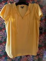 Chaps Women's Top Plus Size 1X Yellow Eyelet Lace Ruffle Sleeve Shirt NEW