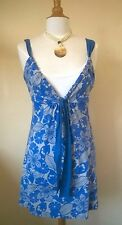 Next blue floral mix Beach Tunic Cover Up dress with front ties UK 10
