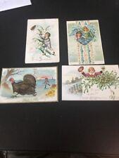 VTG Raphael Tuck  Postcard Lot Of 4 Embossed Thanksgiving Valentines Christmas