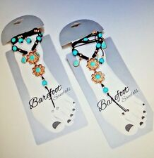 Barefoot Sandals Boho Gold & Turquoise Floral Beaded Suede Leather Wrap 1 Pair