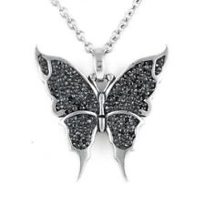 Butterfly Pendant Necklace with 250 Black Cubic Zirconia Jewelry by Controse