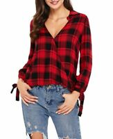 Red And Black Plaid Checkered V Neck Drape Top in sizes Small Medium Plus Size