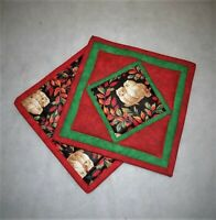"7.5"" QUILTED OWL POTHOLDERS NEW HANDMADE KITCHEN LINEN 100% COTTON"