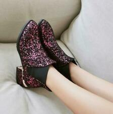 Sexy Womens Glitter sequins pointed Toe Chunky Heels Shoes Ankle Boots ZX00