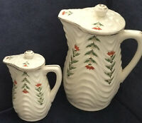 Vintage Art Deco Teapot & Baby Teapot By Royal Trico Japan Ridged & Hand Painted