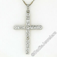 Antique Edwardian Large 14K Gold Platinum 1.67ctw Old Mine Diamond Cross Pendant