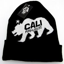 CALIFORNIA REPUBLIC Skull Cap Embroidered Cuff Beanie Winter Hat Black CALI NWT