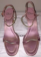 DIOR Designer Pink Satin Sandals With Crystals Size 40.5 EU