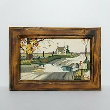 VTG House Crewel Home Autumn Country Landscape Wood Framed