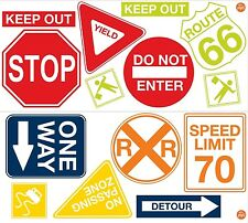 ROAD SIGNS 14 BiG Wall Decals Cars Traffic Room Decor STOP SPEED LIMIT Stickers