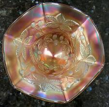 BLACKBERRY BRAMBLE Marigold Carnival Glass Compote by Fenton Art Glass c1910