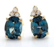 4.10 Ct Natural London Blue Topaz and Diamond in 14K Yellow Gold Stud Earrings