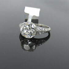 Antique Edwardian 3.49ct Old Mine Cut Diamond Platinum Decorated Ring - 7.75