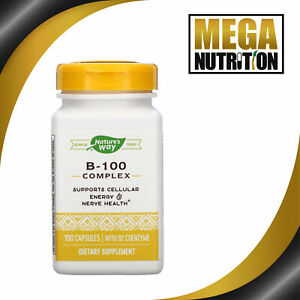 Nature's Way B-100 Complex with B2 Coenzyme 100 Capsules Vit Vitamin B Complex