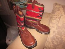 Women Born brown leather Indian blanket woven wool mid-calf boots,6,handcrafted