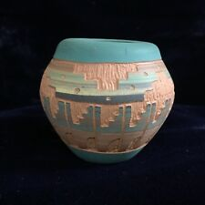 Miniature Clay Bowl/Vase_South Western Design_Signed L-Tulley 93_Exc_SHIPS FREE