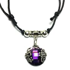 "Purple Tibetan Silver Style Choker Necklace Pendant Adjustable Black Cord 13""24"""