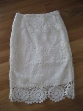 LADIES CUTE WHITE LACE LINED POLYCOTTON PENCIL SKIRT BY LUVALOT - SIZE 6 - CHEAP