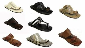 men youth boys leather look flip flops slip on sandals beach shoes