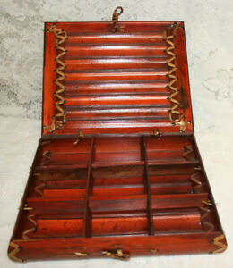 Vintage Bamboo Crafted Tea Bag Chest with Nine Slots and Locking Lid