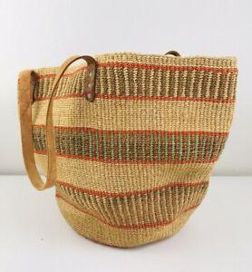 Large Vintage Woven Jute Straw Market Beach Shoulder Bag Tote Leather Boho